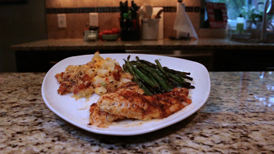 Blackened Walleye w/ green beans and cheesy potatoes