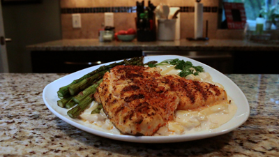 Cajun Trout Alfredo with Asparagus