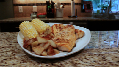Grilled Garlic Rosemary Trout with pan fried redskins and roasted corn