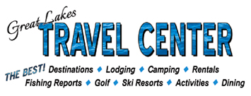 Great Lakes Travel Center - 40' Travel Booth with brochure display at 6 Midwest Sport and Travel Shows